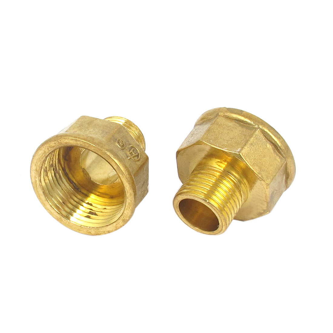 2pcs 1BSP to 1/2BSP M/F Threaded Brass Air Pipe Fittings Reducer Bushing Adapter Gold Tone