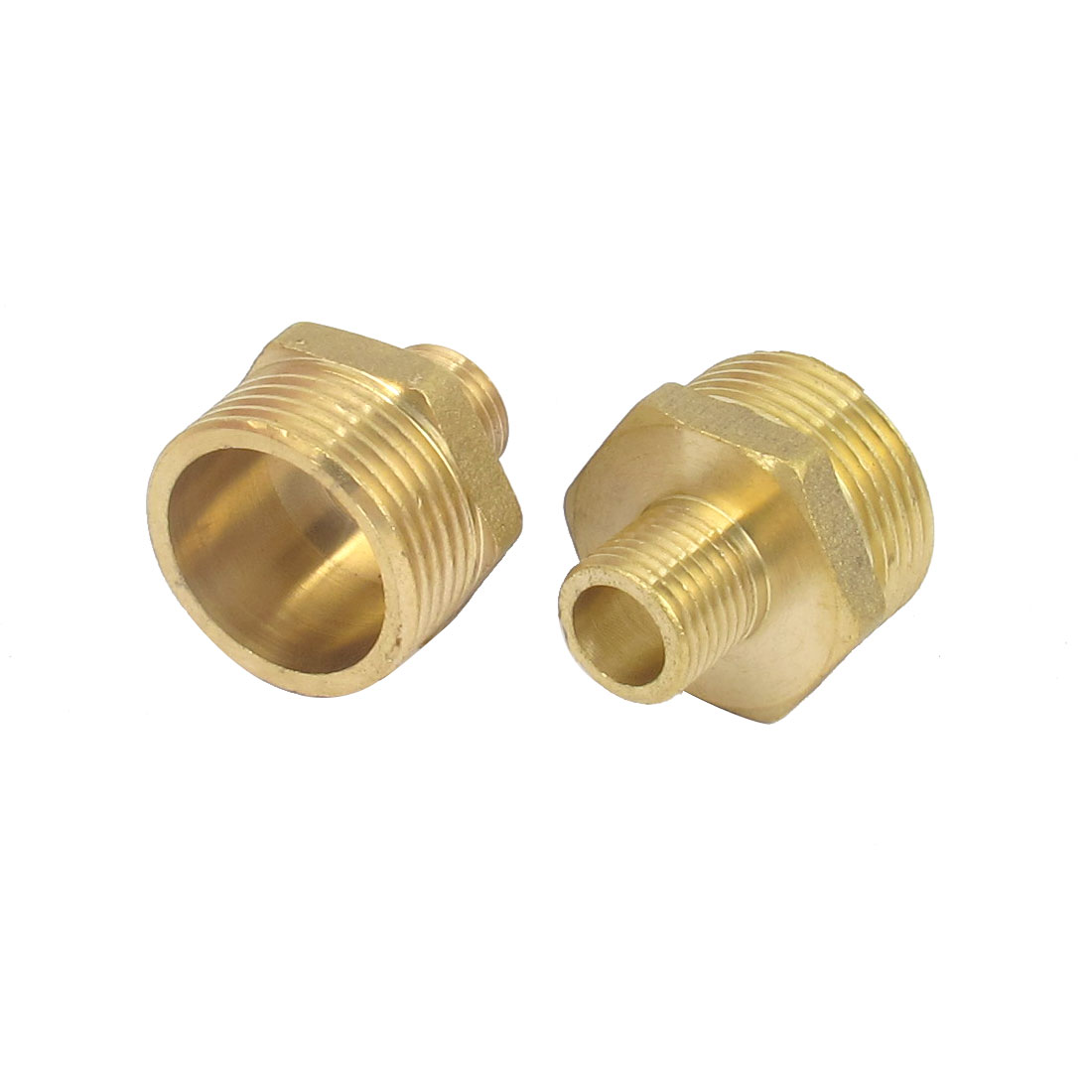 2 Pcs 3/4BSP to 1/4BSP Male Thread Brass Pipe Hex Nipple Fitting Quick Adapter