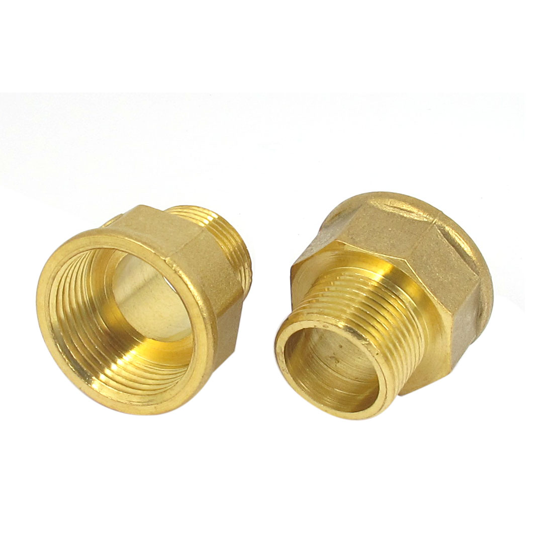 2pcs 1BSP to 3/4BSP M/F Threaded Brass Air Pipe Fittings Reducer Bushing Adapter Gold Tone