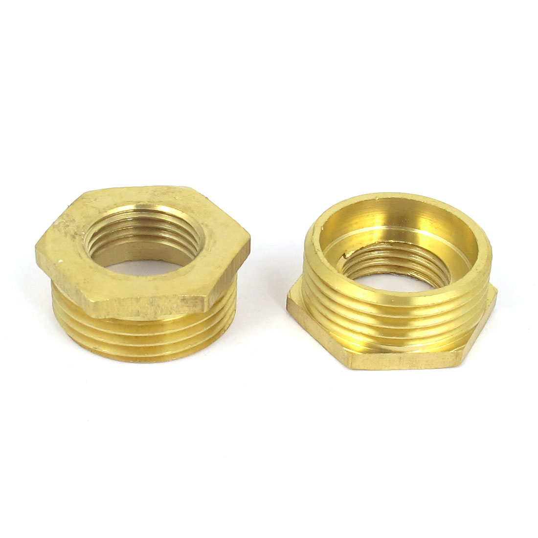 Gold Tone 1BSP x 1/2BSP F/M Thread Brass Hex Reducing Bushing Fitting 2pcs