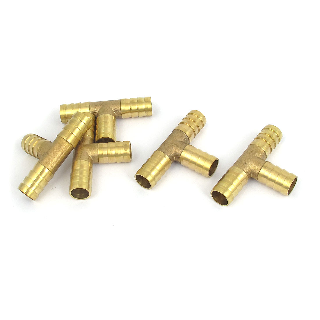 5 Pcs Brass T-Shape 3 Ways Hose Barb Fitting Adapter Coupler Connector 12mm Dia