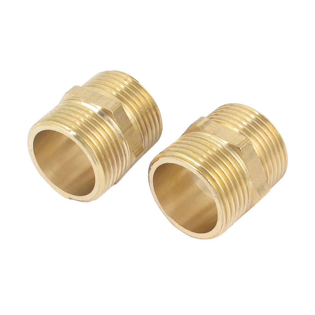 2 Pcs 1BSP to 1BSP Male Thread Brass Pipe Hex Nipple Fitting Quick Adapter