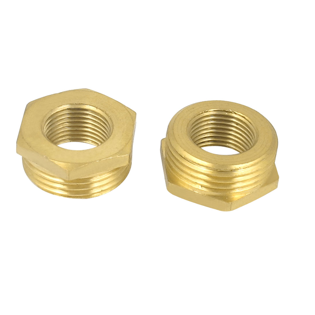 Gold Tone 3/4BSP x 3/8BSP F/M Thread Brass Hex Reducing Bushing Fitting 2pcs