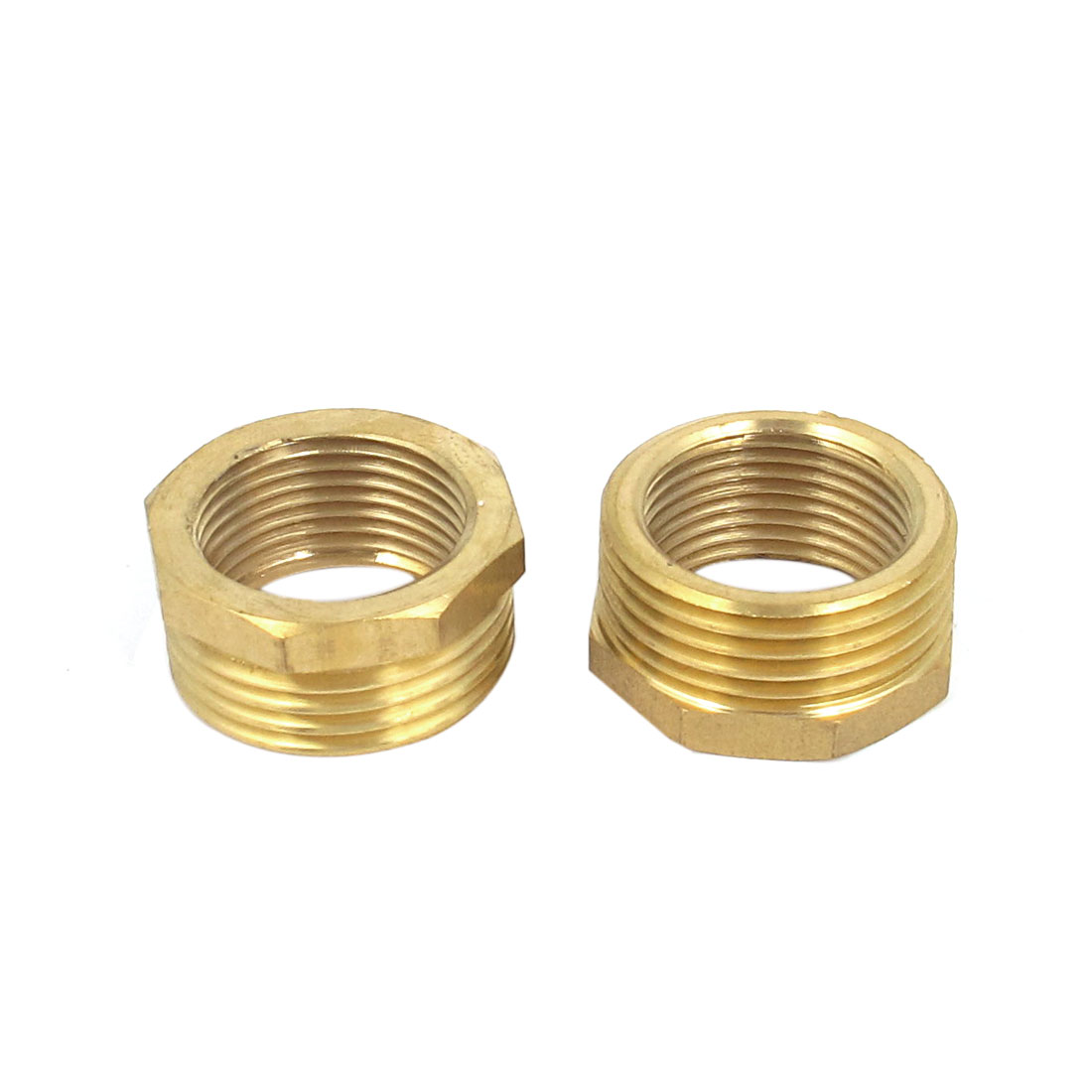 Gold Tone 3/4BSP x 1/2BSP F/M Thread Brass Reducing Bushing Fitting 2pcs