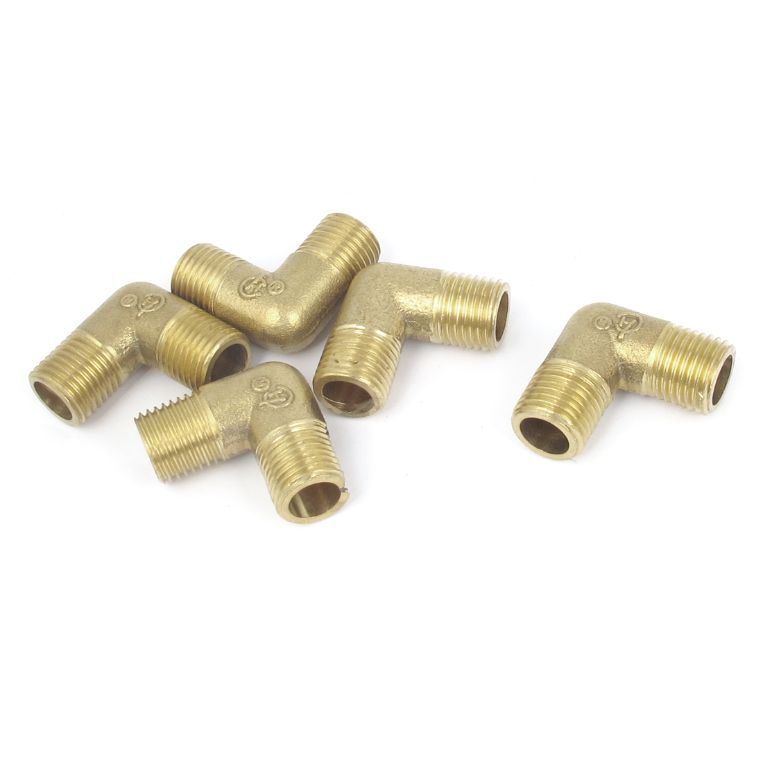 5Pcs Brass Pipe 90 Degree 1/4BSP Male to Male Thread Water Fuel Elbow Fitting