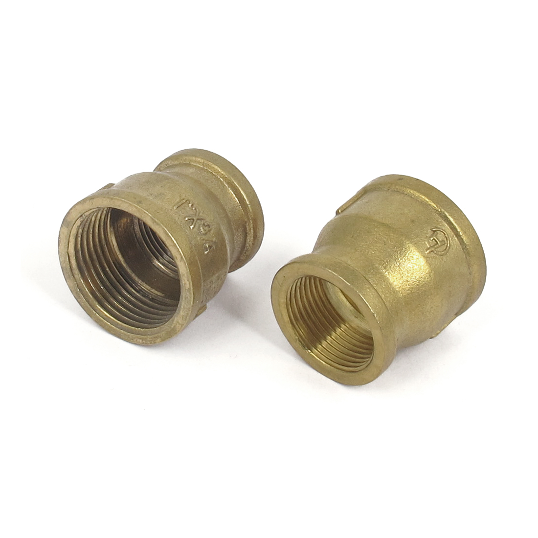 1BSP to 3/4BSP Female Thread Brass Water Pipe Coupling Fitting Connector Gold Tone 2pcs