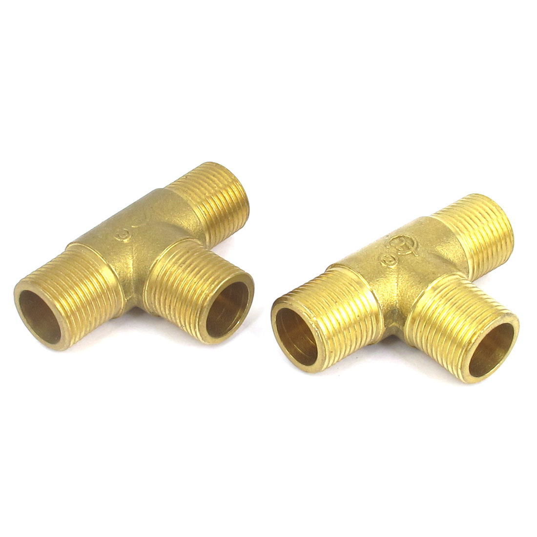 2 Pcs Brass 3/8BSP Thread Equal 3 Way T Shaped Tee Connectors Adapters