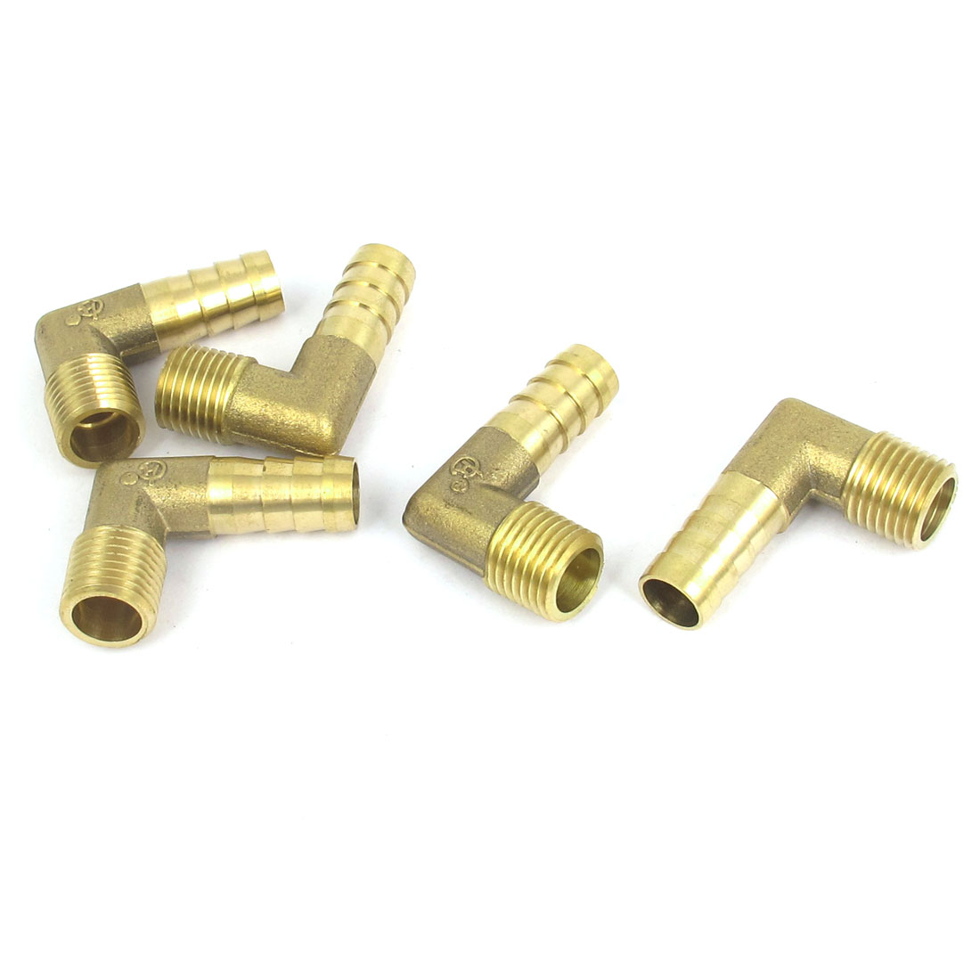 1/4BSP Thread 10mm Tube Dia 90 Degree Brass Hose Barb Coupler Connector 5pcs