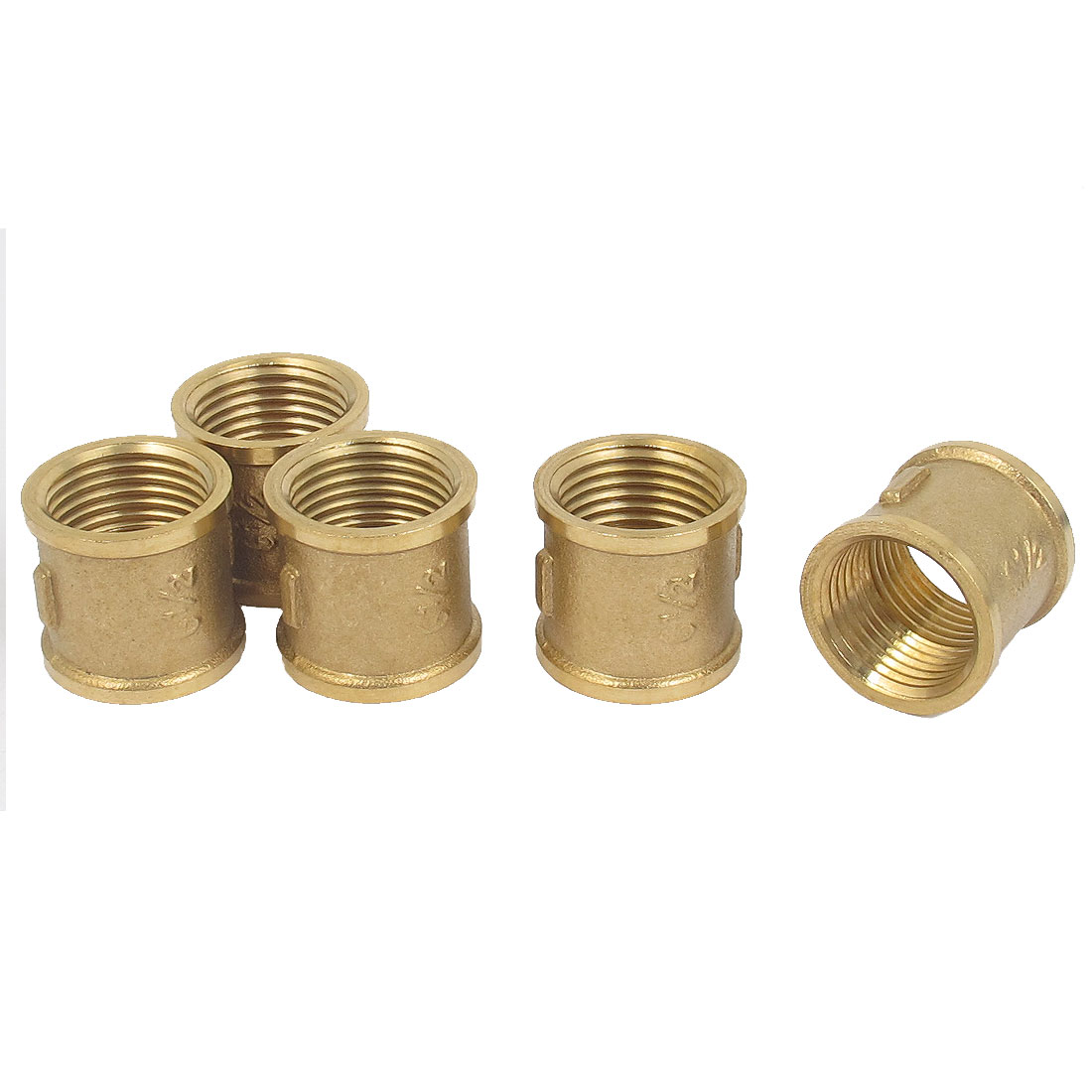 1/2BSP Female Thread Brass Water Pipe Coupling Fitting Connector Gold Tone 5pcs