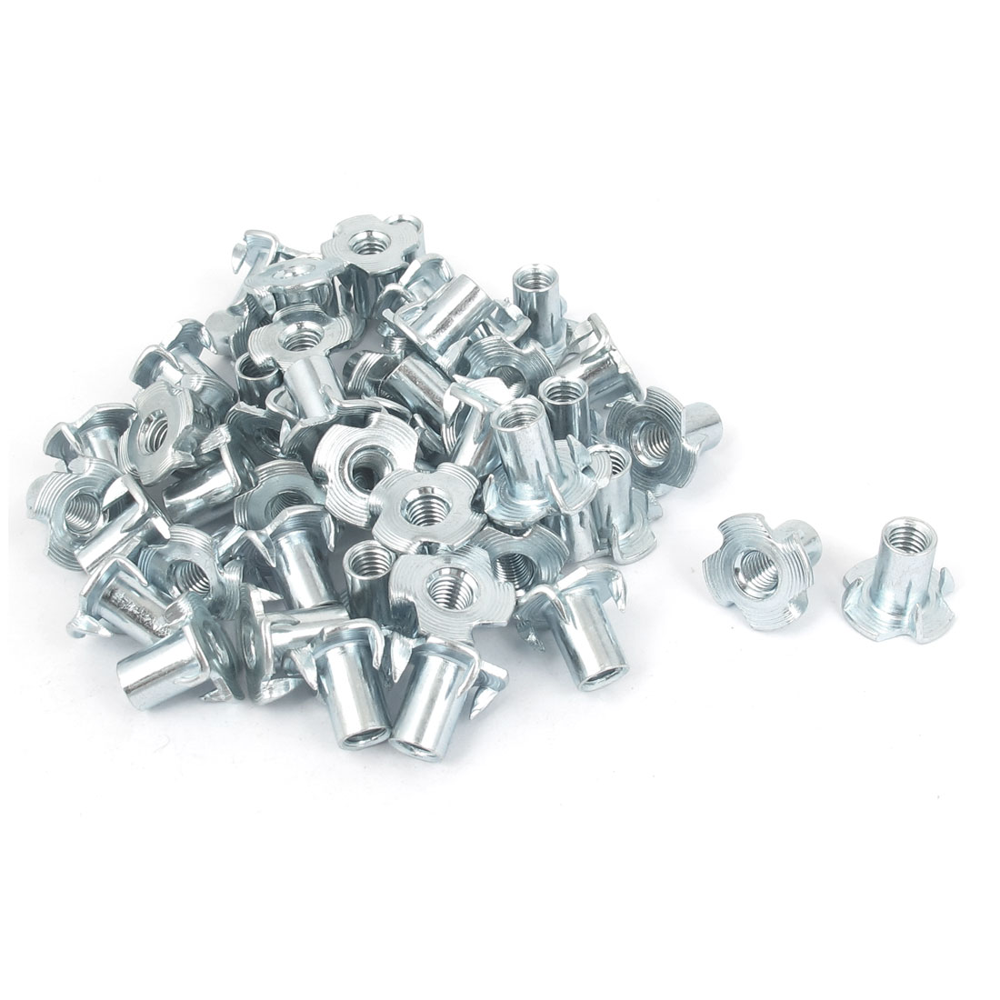 50 Pcs 4 Prongs Zinc Plated T-Nut Tee Nut Fixing M6 x 14mm
