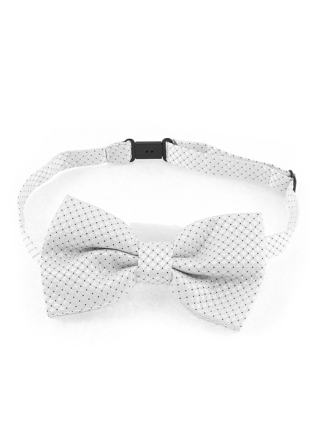Men Square Pattern Polyester Adjustable Band Bow Tie Bowtie White