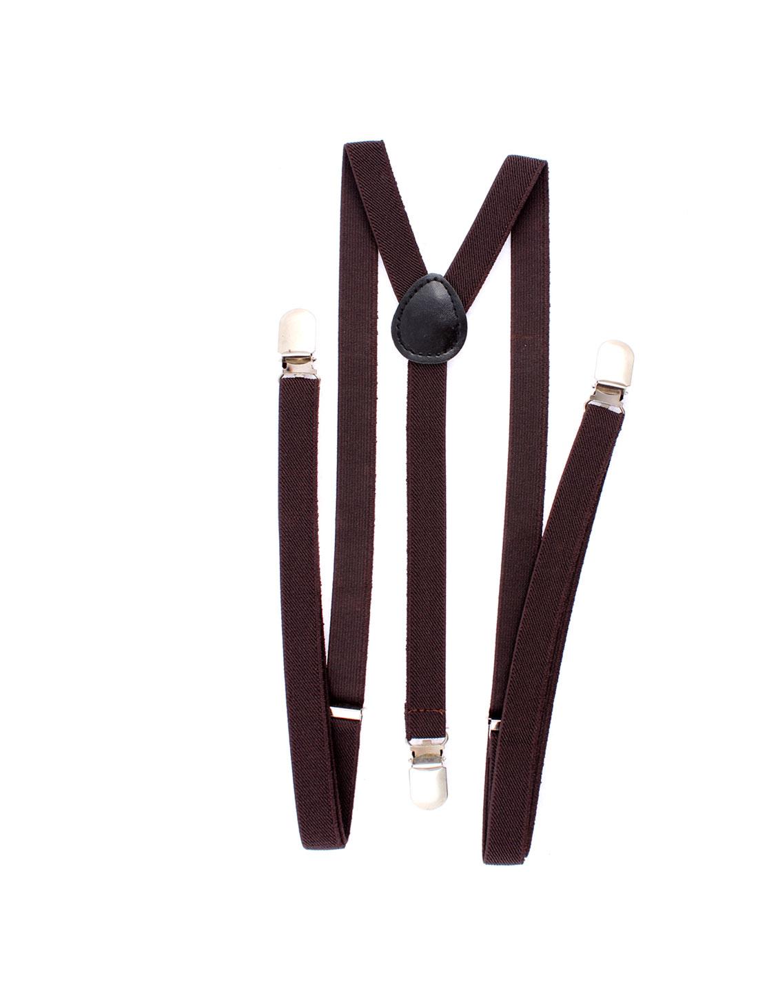 Elastic Fibre Metal Clamp Y Shape Adjustable Suspenders Braces Dark Coffee Color