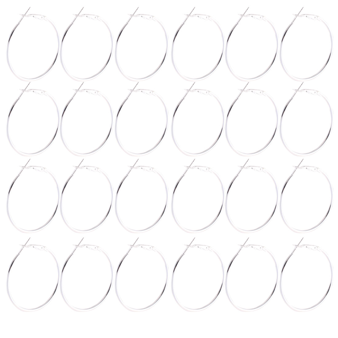 12 Pairs Full Circle Hoop Pierced Earrings 4cm Dia Silver Tone for Lady