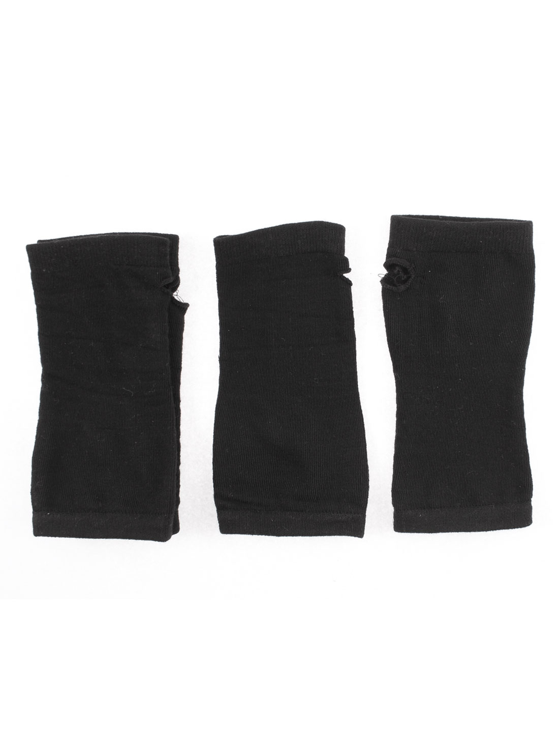 Lady Acrylic Fingerless Arm Warmers Sleeves Knit Gloves Black 2 Pairs