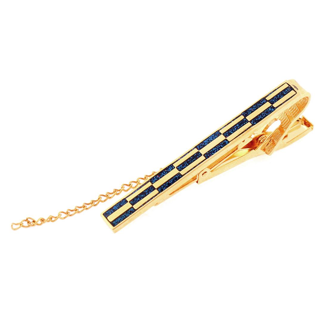 Man Metal Rectangle Stripe Pattern Necktie Clip Clasp 58mm Length
