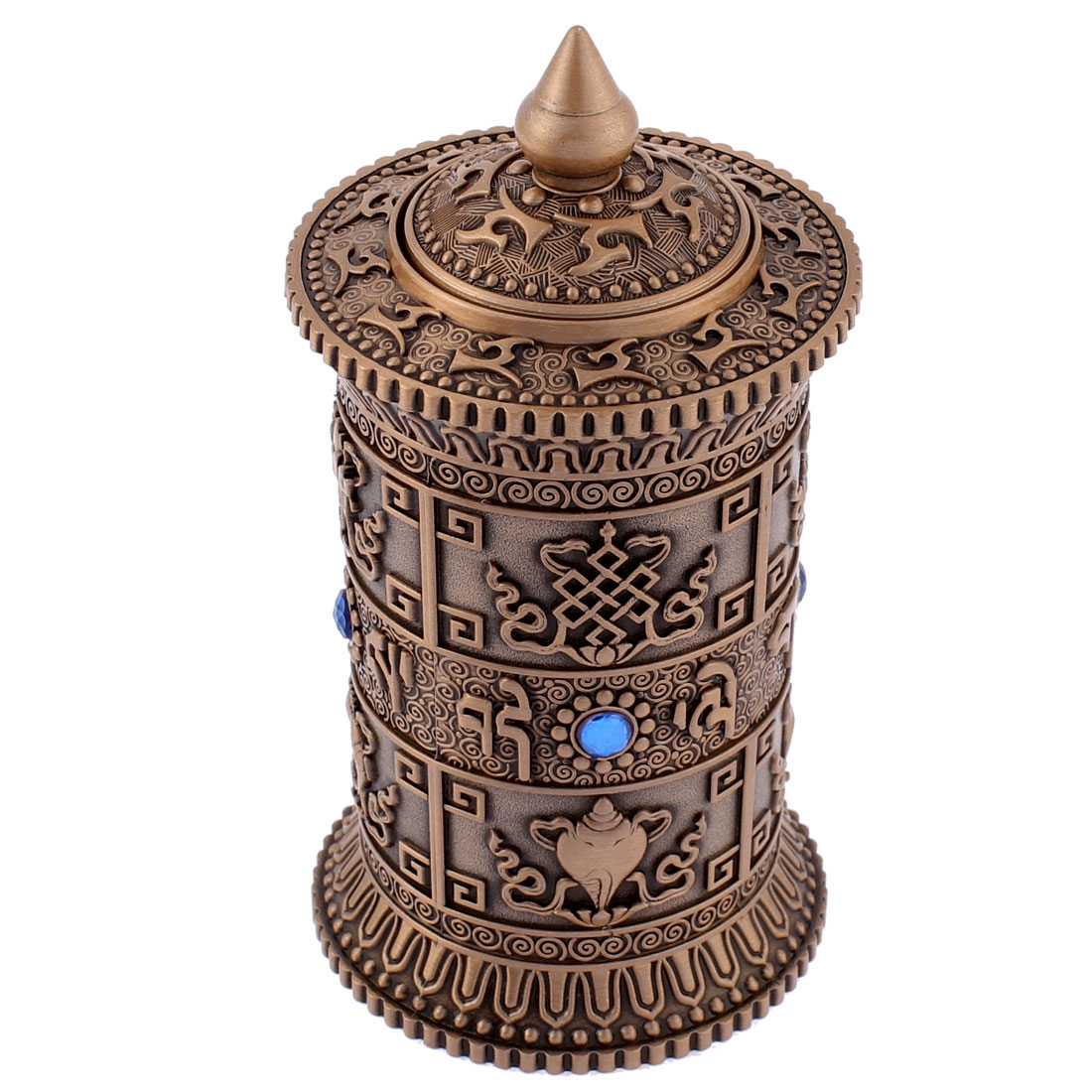 Metal Cylindrical Shaped Rhinestone Inlaid Art Toothpick Holder Copper Tone
