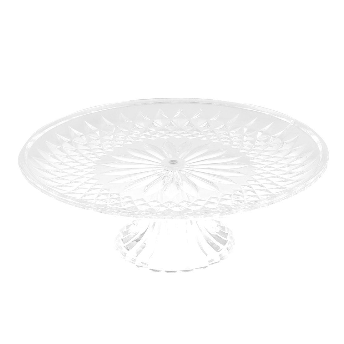Plastic Round Flower Pattern Fruit Vegetable Plate Container Tray 25cm Dia Clear