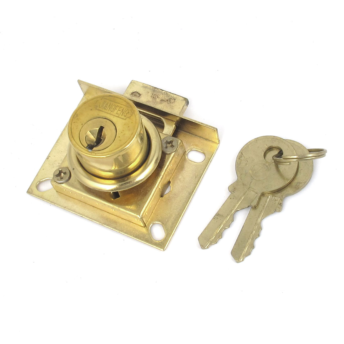 Gold Tone 22mm Dia Cylinder Head Metal Cabinet Security Drawer Lock w 2 Keys