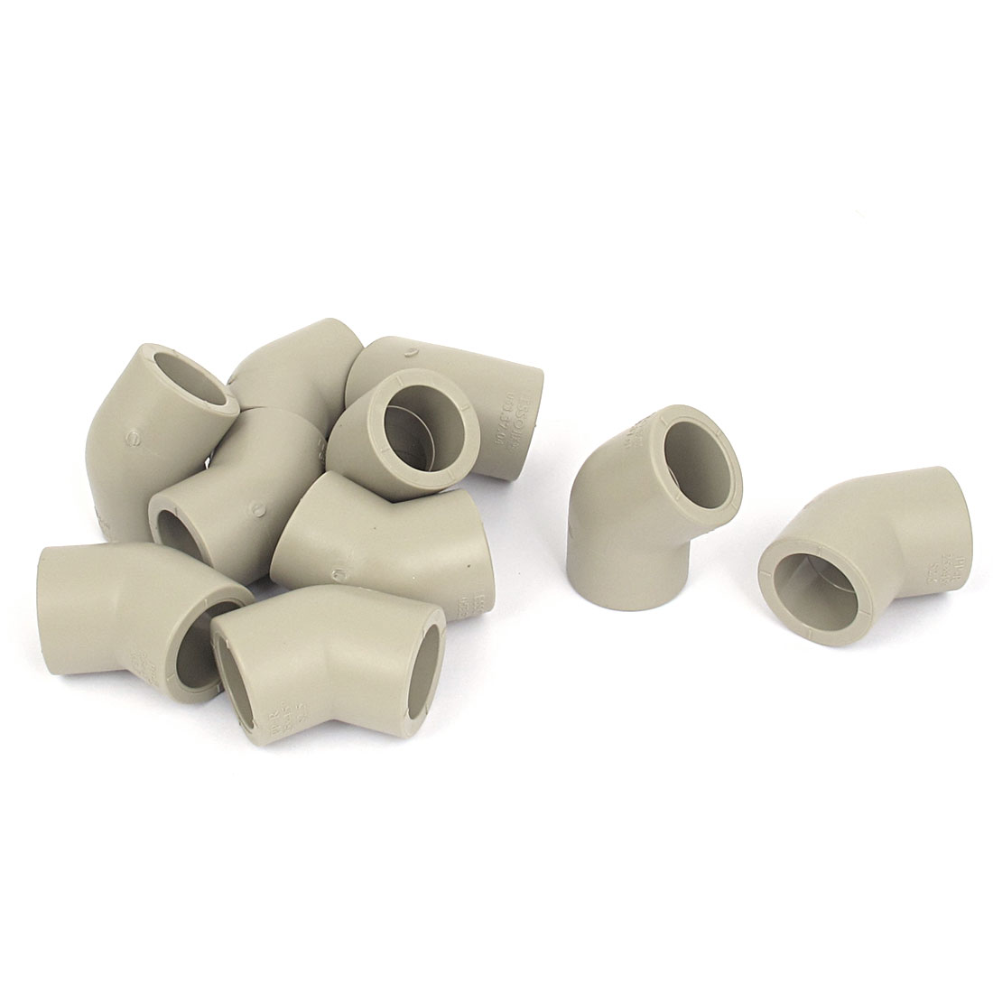 25mm Inner Dia PPR 2 Way 45 Degree Water Pipe Hose Joint Adapter Connector Gray 10pcs