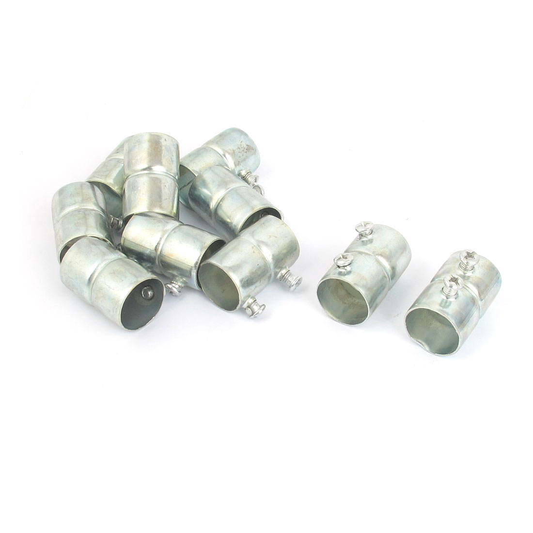 10pcs Silver Tone Metal 20mm Inner Diameter Electrical Wire Pipe Connector
