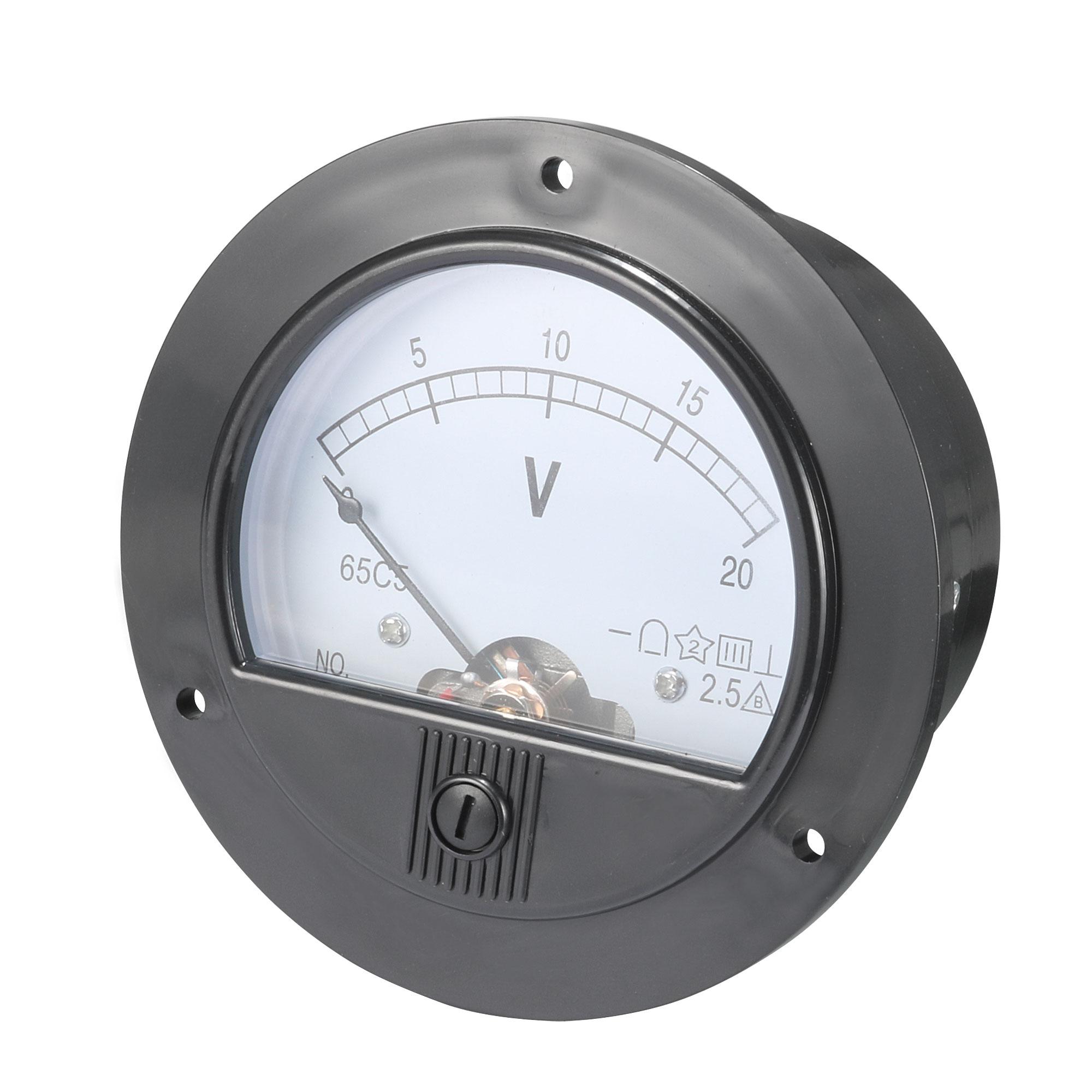 DC 0-20V Round Analogue Panel Meter Volt Voltage Gauge Analog Voltmeter