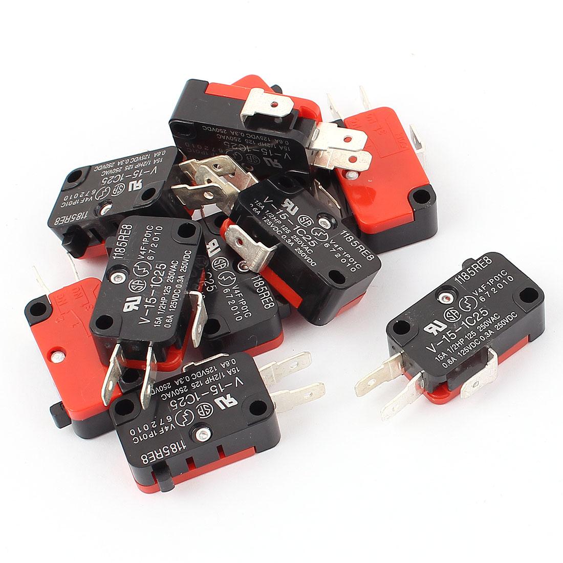 V-15-1C25 AC 250V 15A 1NO 1NC SPDT Momentary Micro Limit Switch Button 10Pcs