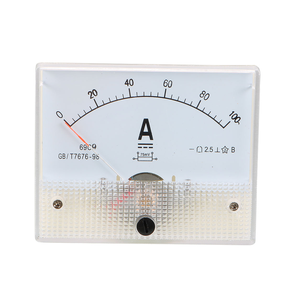 DC 0-100A Rectangle Panel Meter Gauge Current Analogue Analog Ammeter White
