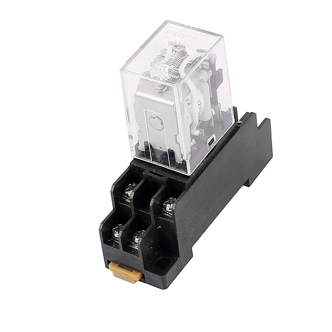 JQX-13F DC 12V Coil 8 Terminal DPDT Power Electromagnetic Relay w Socket Base