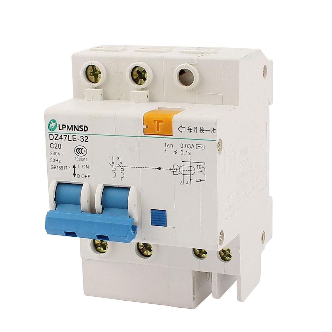 AC 230V 20A DZ47LE-32 C20 2 Pole Overload Protector Mini Circuit Breaker