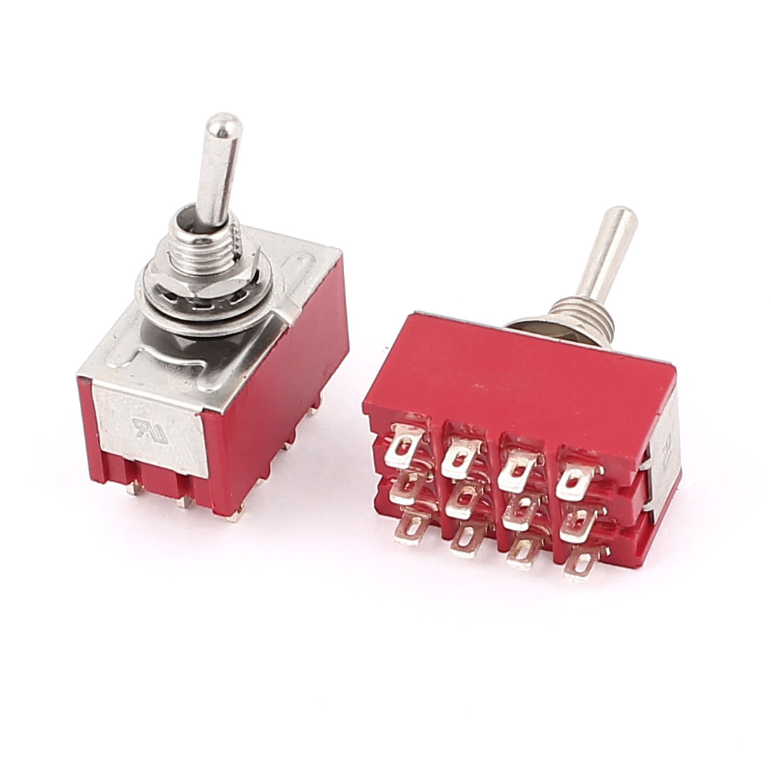 AC 250V/2A 125V/6A ON/ON 2 Position 4PDT 12 Terminals Toggle Switch Red 2Pcs