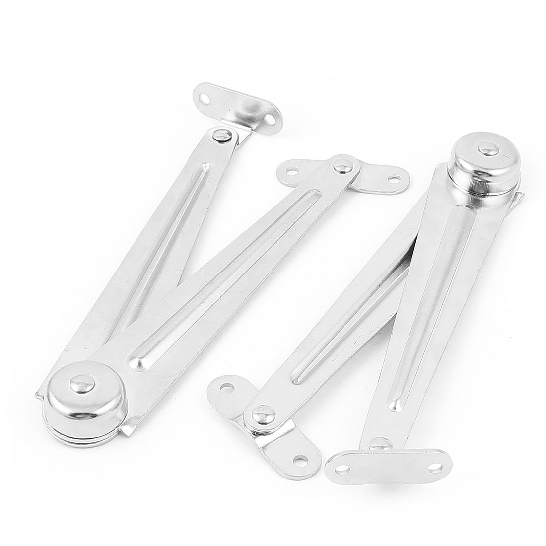 Home Cupboard Cabinet Door Furniture Lid Support Hinge Stay Silver Tone 2Pcs