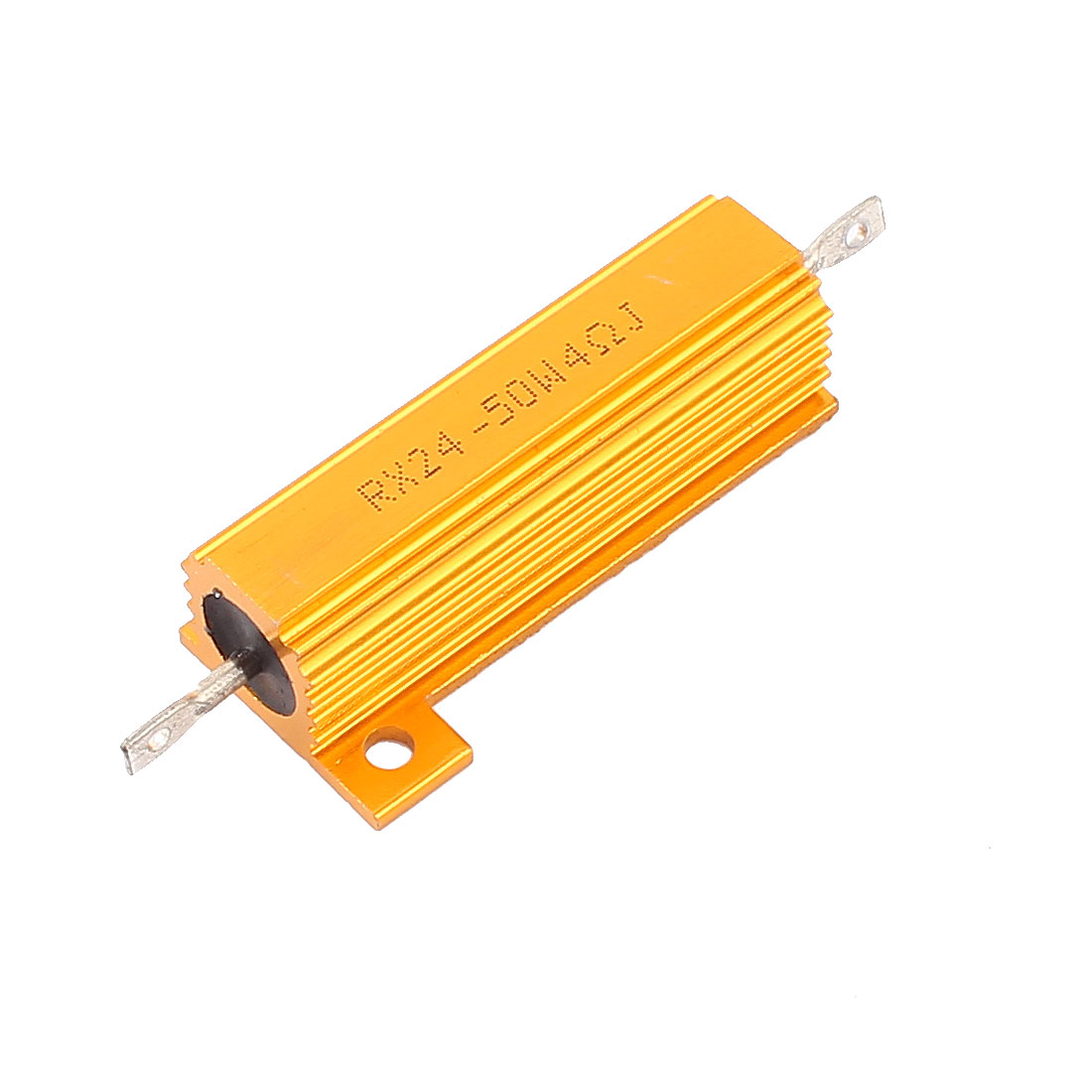 RX24 50W 4 Ohm Aluminum Housing Clad Wirewound Power Resistor Gold Tone