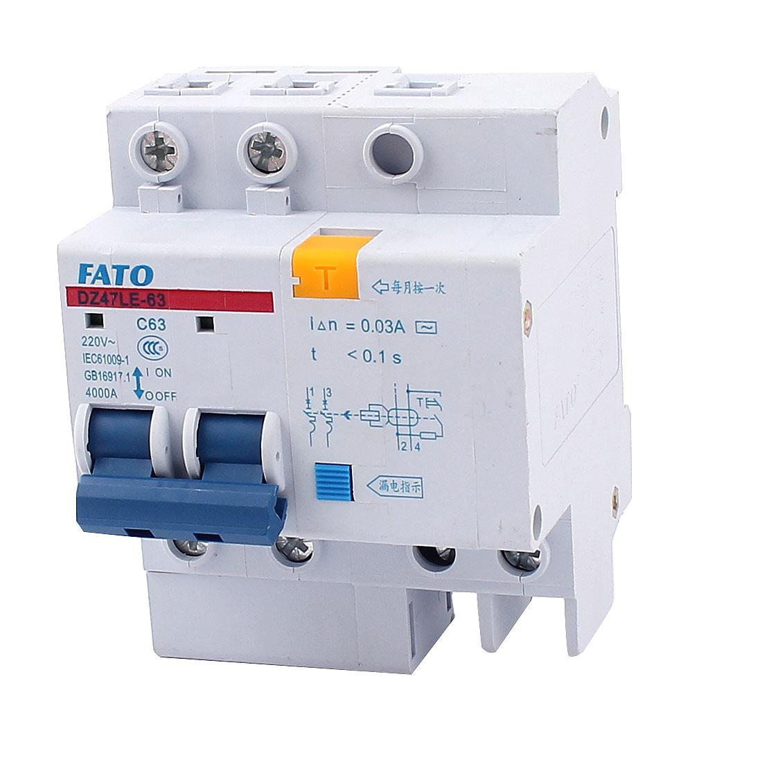 AC 220V 63A DZ47LE-63 C63 2 Pole Overload Protector Mini Circuit Breaker