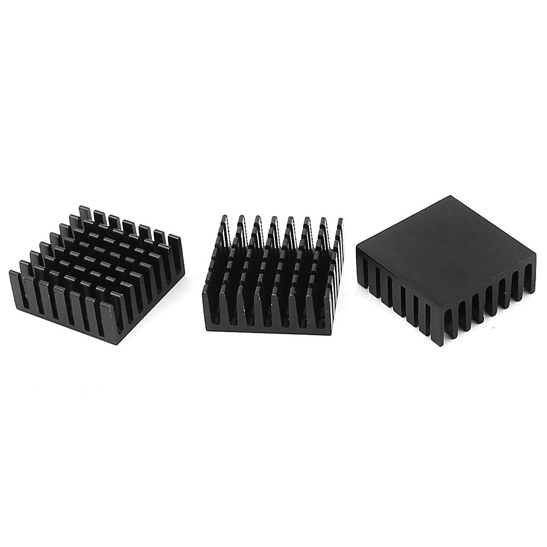 28mm x 28mm x 11mm Aluminium Radiator CPU Heatsink Heat Sink Black 3Pcs