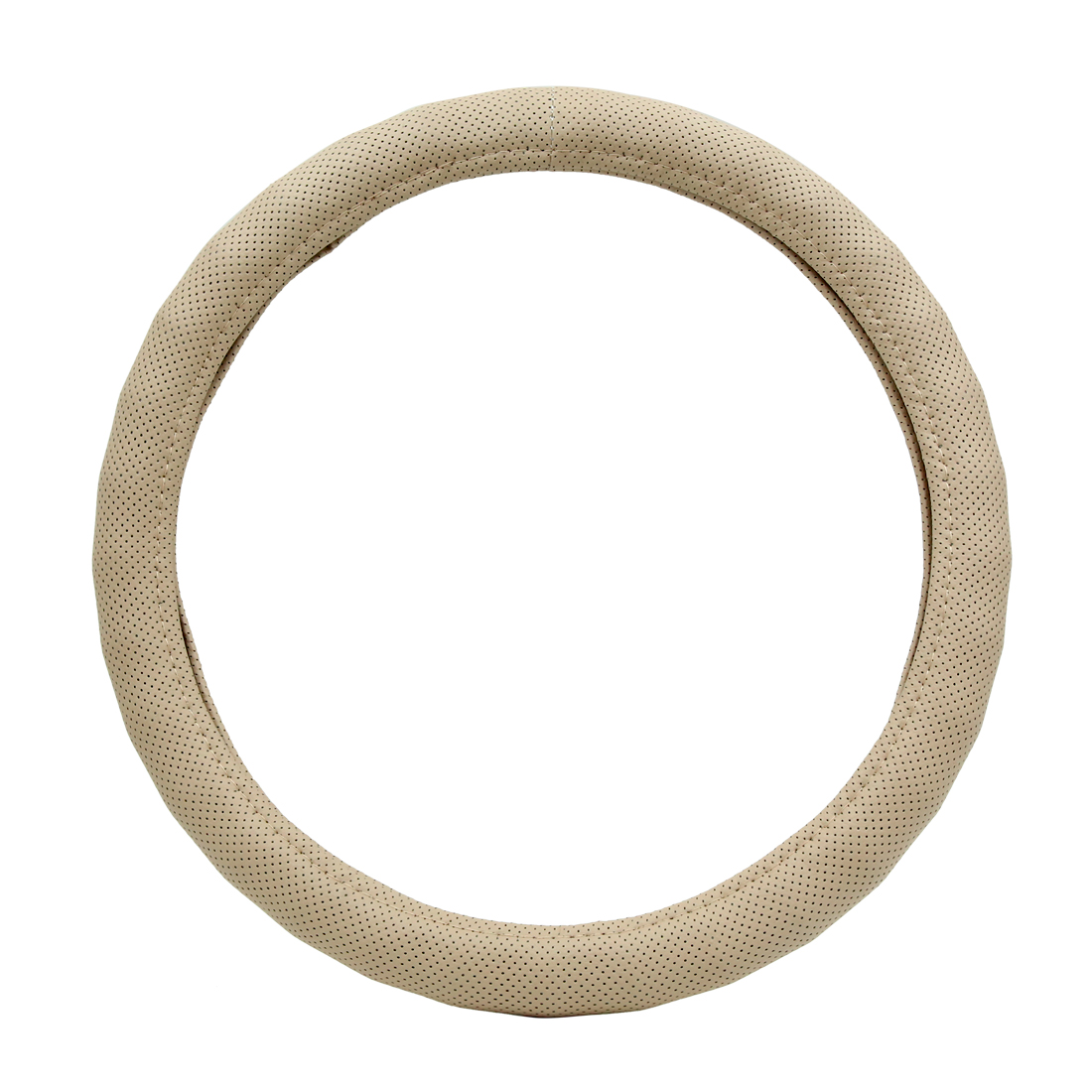 30.5cm-36cm Dia Faux Leather Nonslip Car Steering Wheel Cover Protector Beige