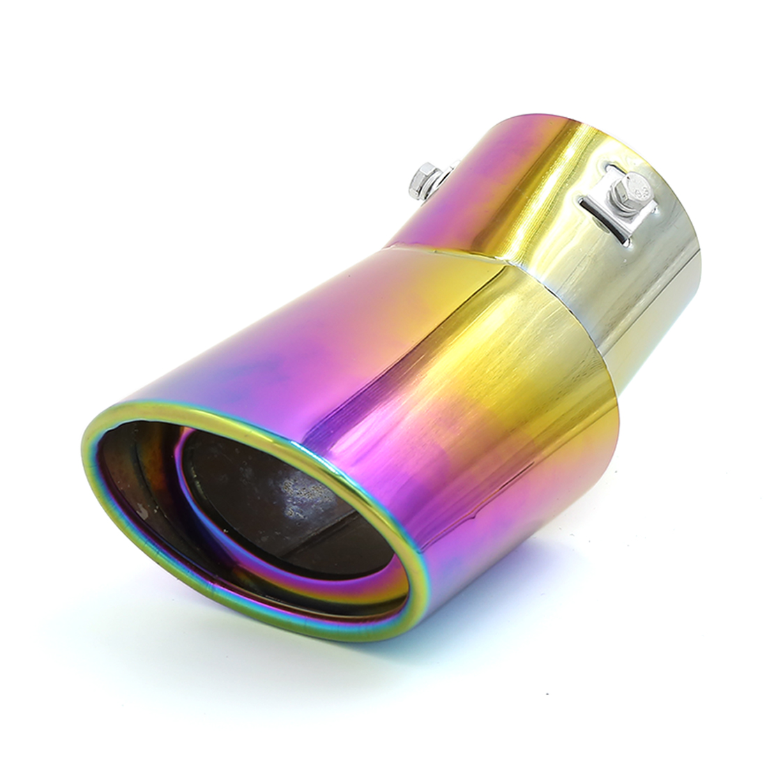 Universal Colorful Stainless Steel Bent Slanted Cut Exhaust Pipe Muffler Tip 73mm Inlet Dia