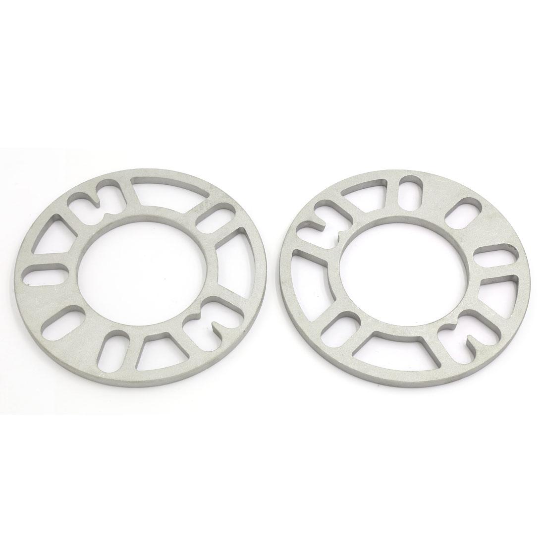 2 Pcs 76mm Center Hole Dia 8mm Thickness Auto Car Wheel Rim Spacer Gasket Sliver Tone