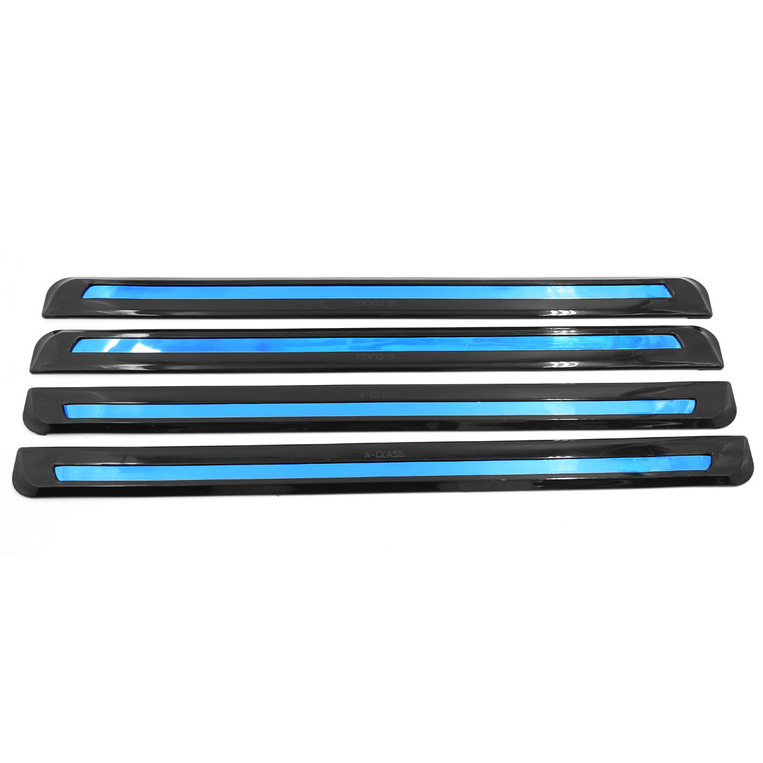 4 Pcs Blue Reflector Flexible Front Rear Bumper Guard Protector Decor Black for Car