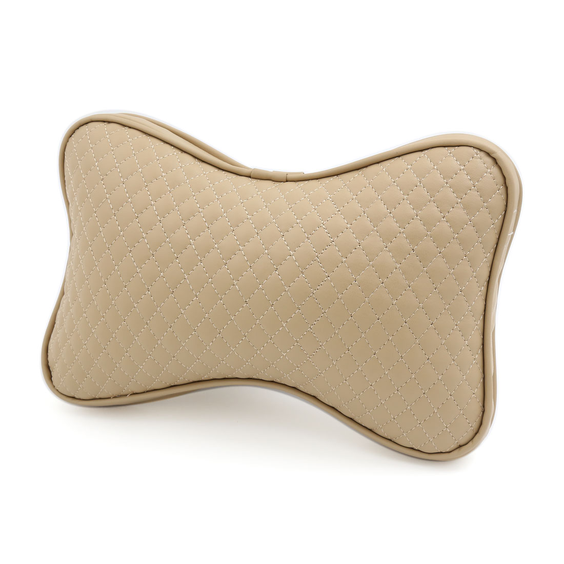 Beige Zip Up Elastic Strap Sponge Padded Seat Neck Head Rest Pillow Cushion for Car