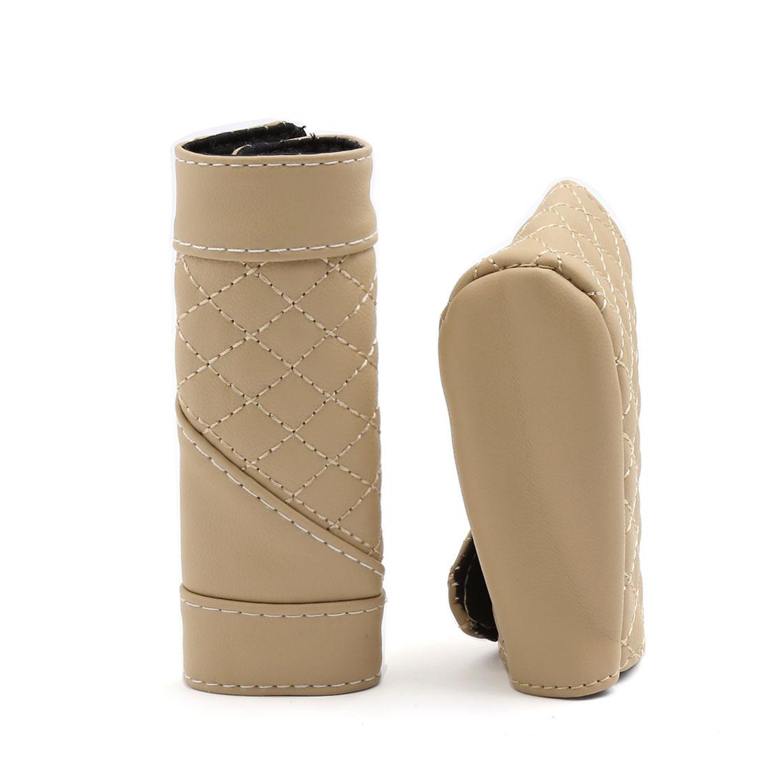 2 in 1 Beige Hook Loop Closure Manual Shift Knob Handbrake Cover Sleeve for Car