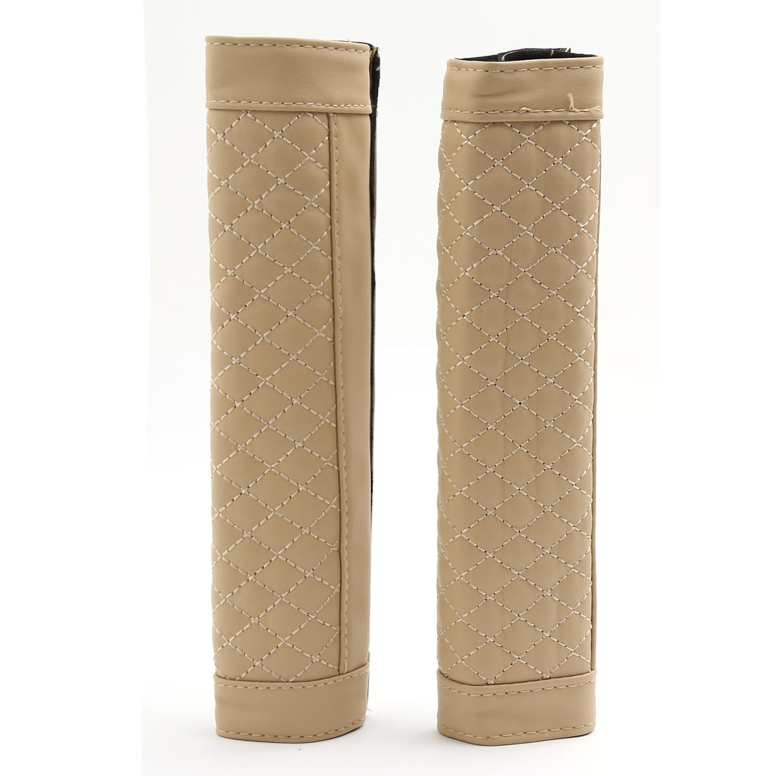 2 Pcs Beige Antislip Car Safety Seat Belt Seatbelt Cover Pad Sleeve 23cm Length