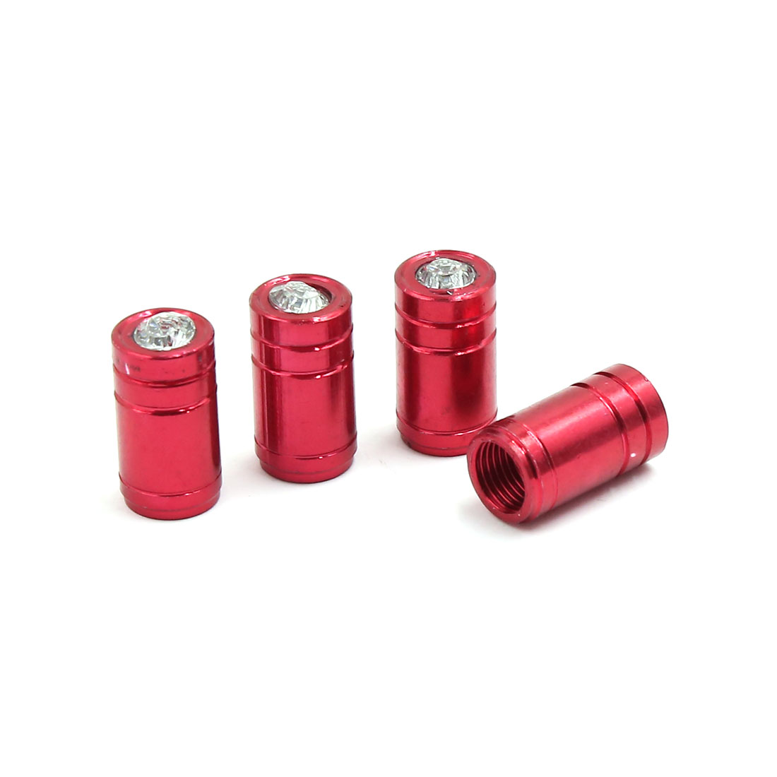 4 Pcs 7mm Thread Dia Car Vehicle Tyre Tire Wheel Air Valve Caps Cover Red