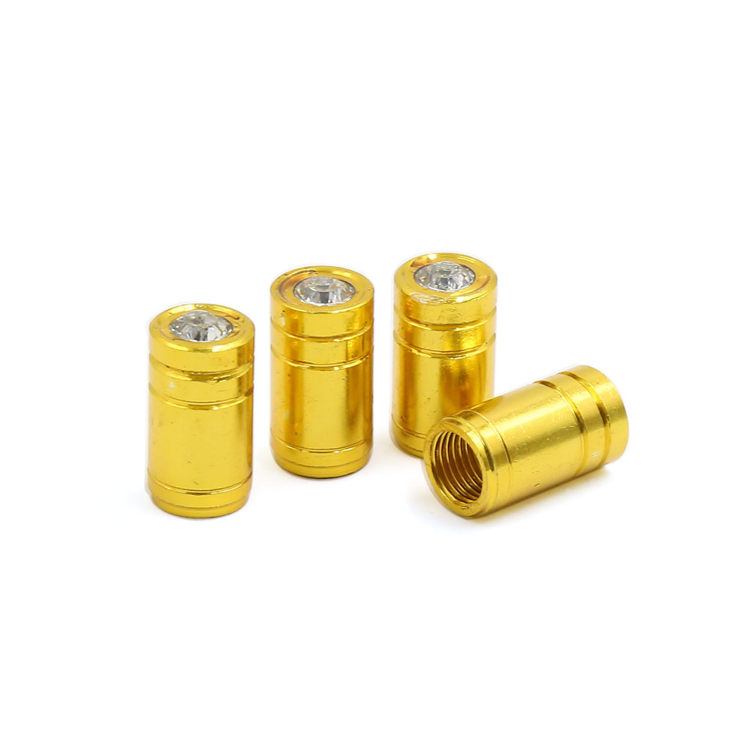 4 Pcs Gold Tone Car Tyre Tire Wheel Valve Stems Air Dust Cover Cap 19mm x 10mm