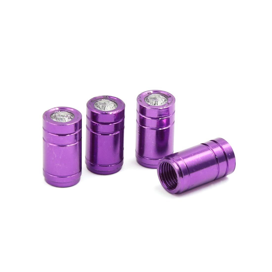4 Pcs Purple Plastic Faux Crystal Decor Car Tire Wheel Valve Cap Cover 7mm Dia