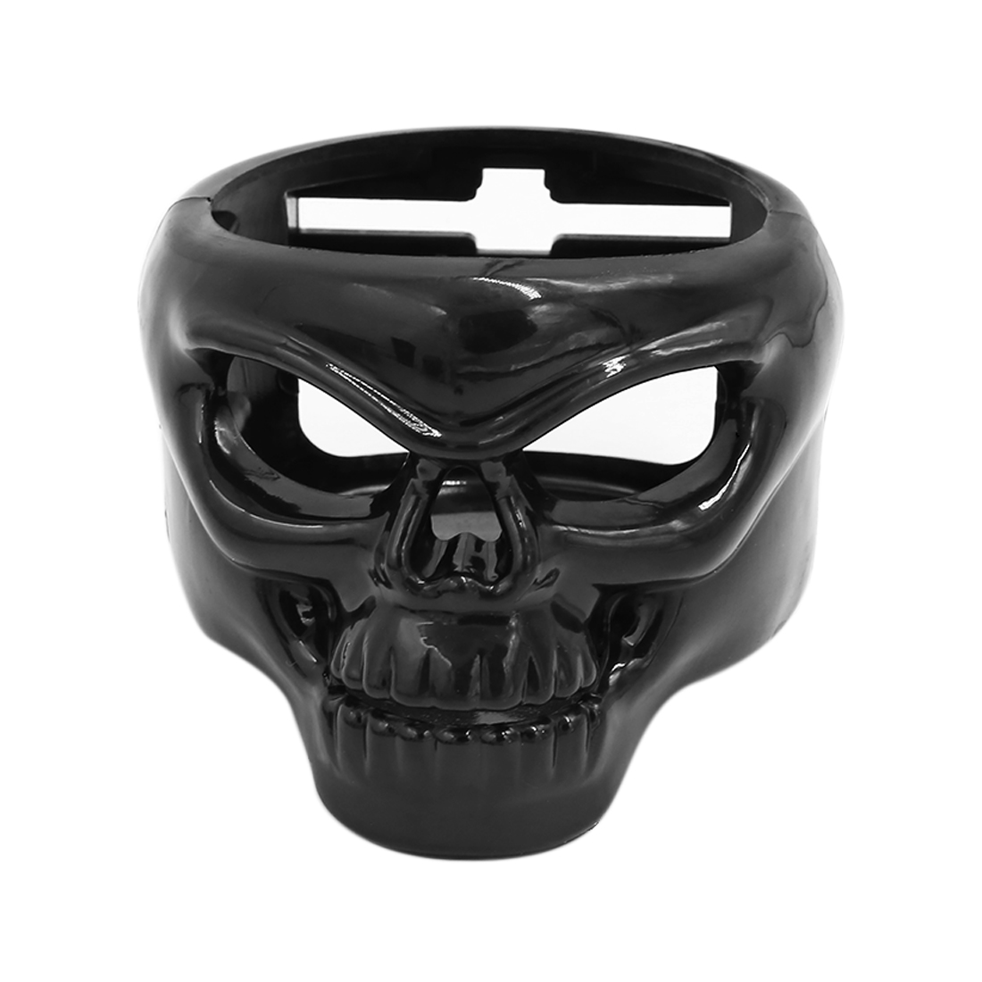 Black Plastic Skull Head Shaped Car Beverage Bottle Can Drink Cup Holder Stand