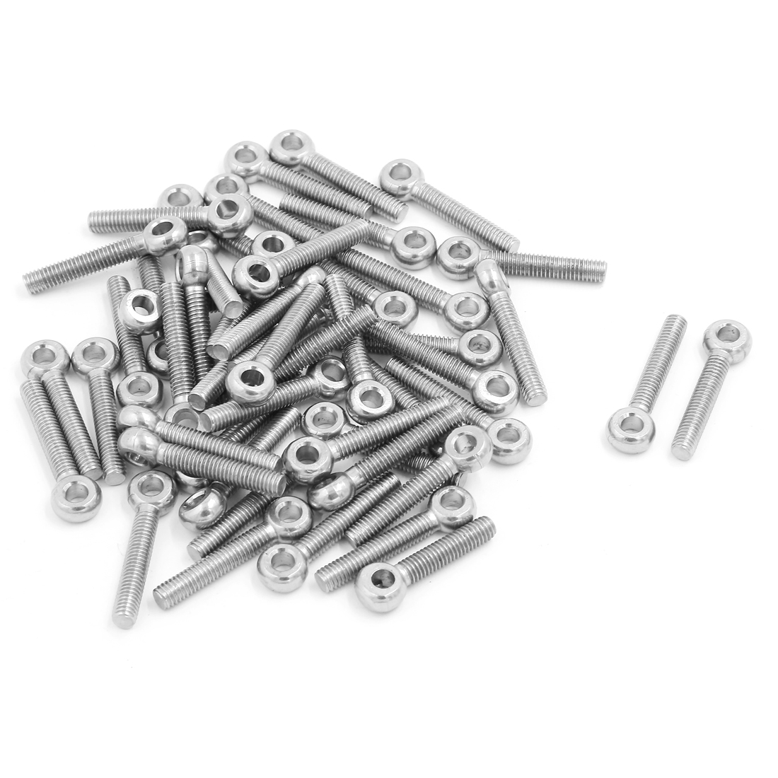 M6 x 20mm 304 Stainless Steel Machinery Shoulder Lifting Eyebolt Eye Bolt 50 Pcs