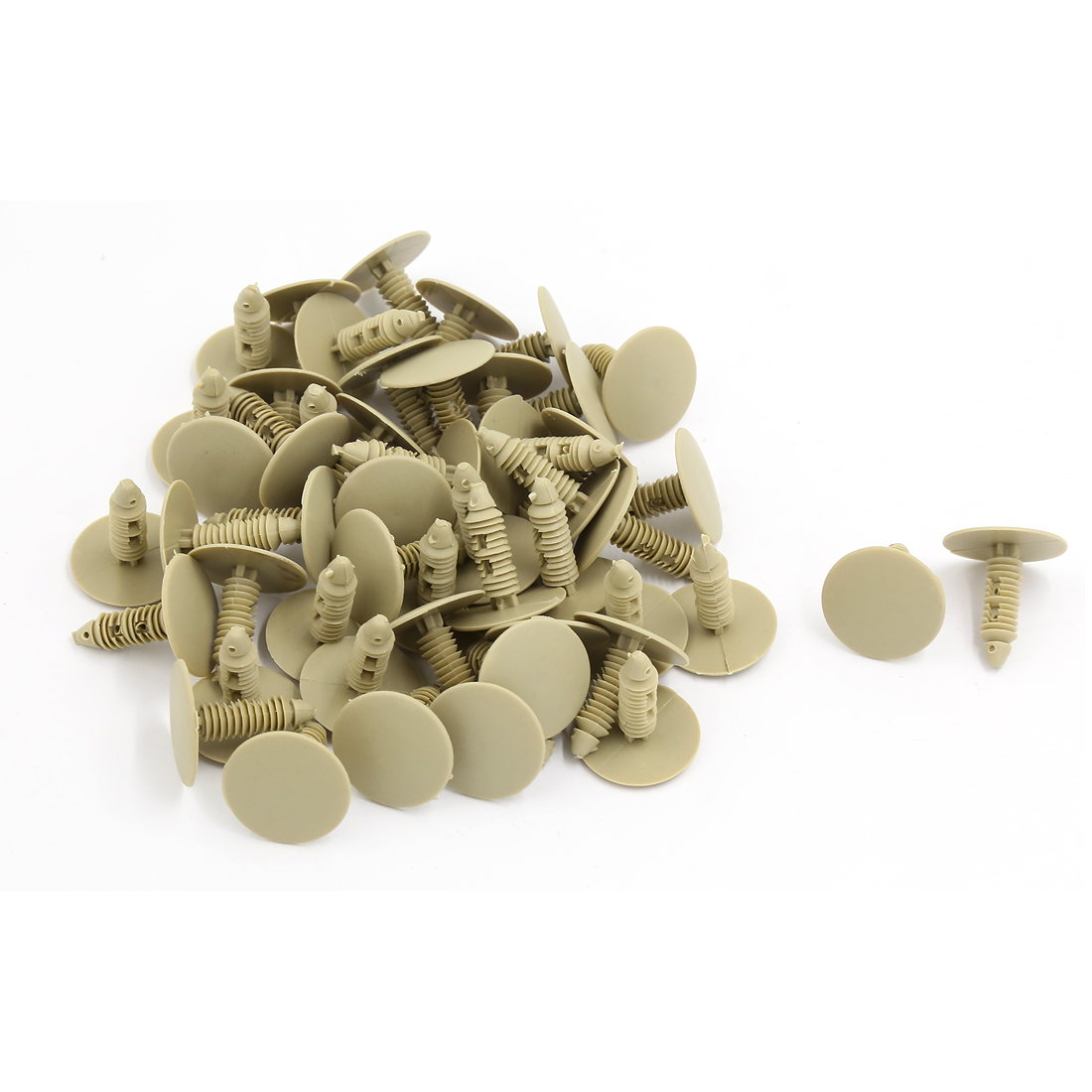 50 Pcs Khaki Plastic Rivet Trim Fastener Moulding Clips 7.5mm Hole Dia