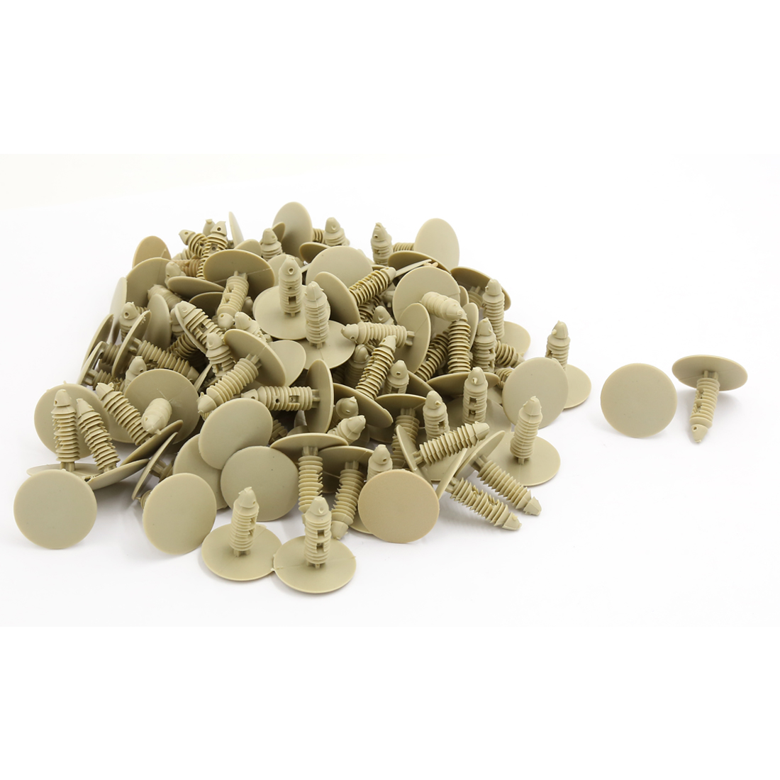 25mm Head 7.5mm Hole Khaki Plastic Splash Guard Moulding Rivet Clips 100 PCS