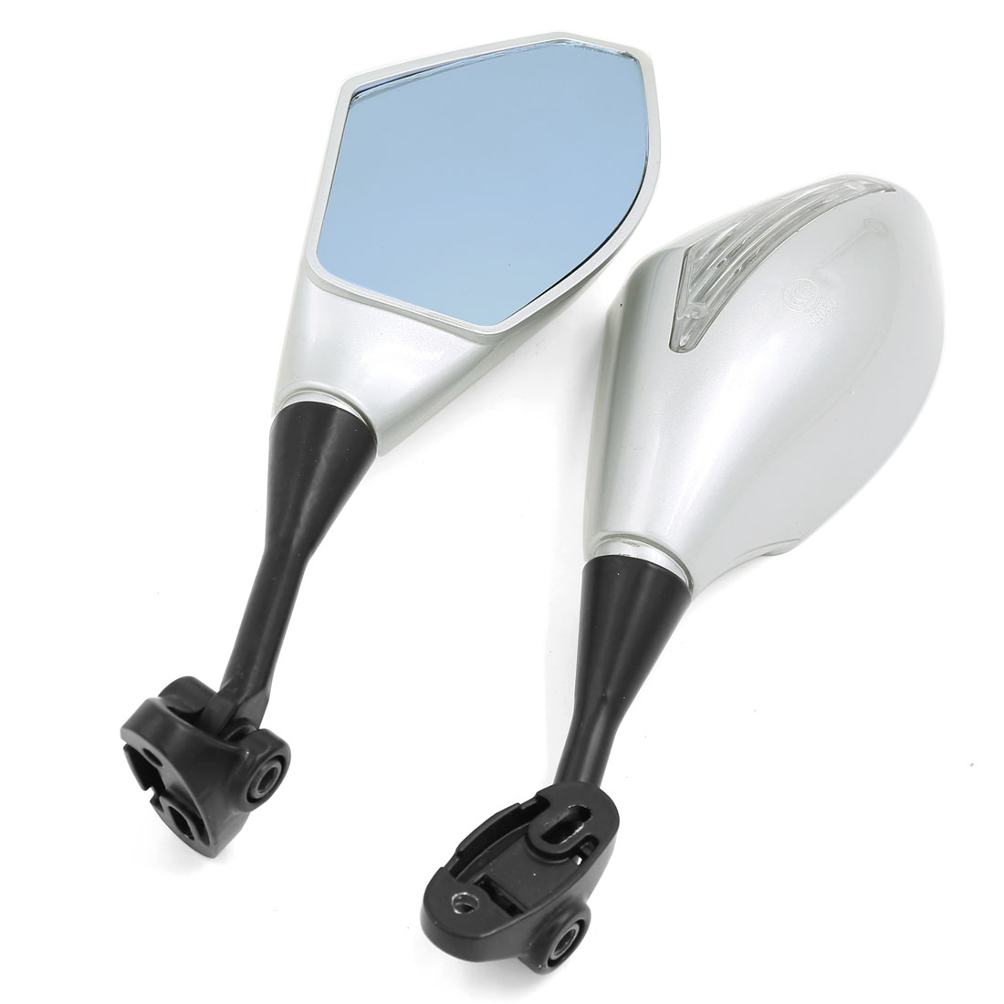 Pair Blue Glass Surface Adjustable Left Right Side Rearview Mirrors for Motorcycle Racing Car
