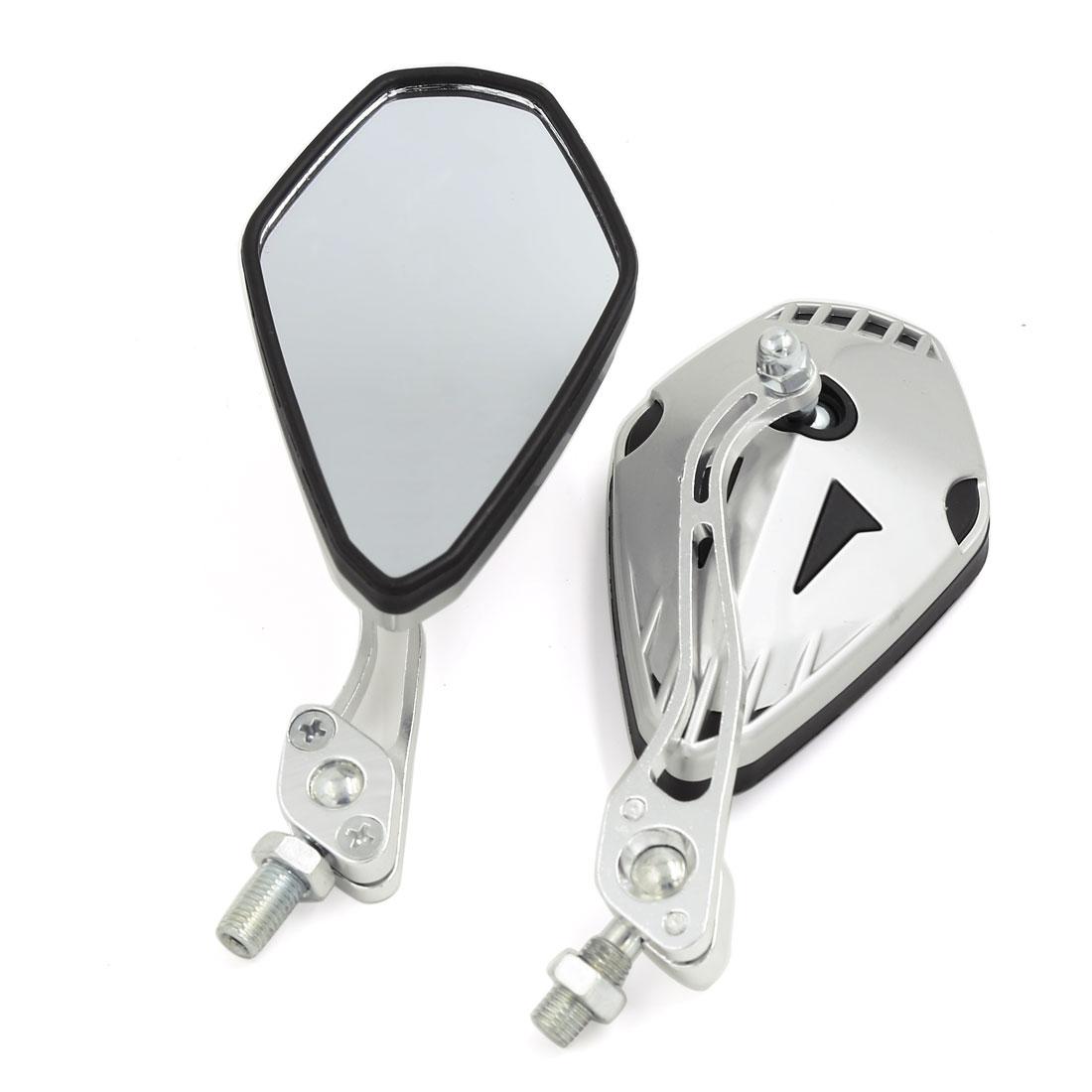 Universal 8mm 10mm Thread Dia Pentagon Shape Motorcycle Side Rearview Mirror Pair